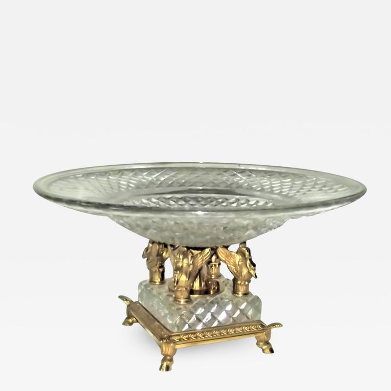 Early 20th Century French Cut Crystal and Bronze Centerpiece