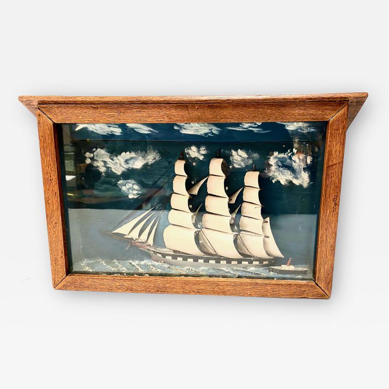 Early 20th Century Schooner Diorama Shadow Box