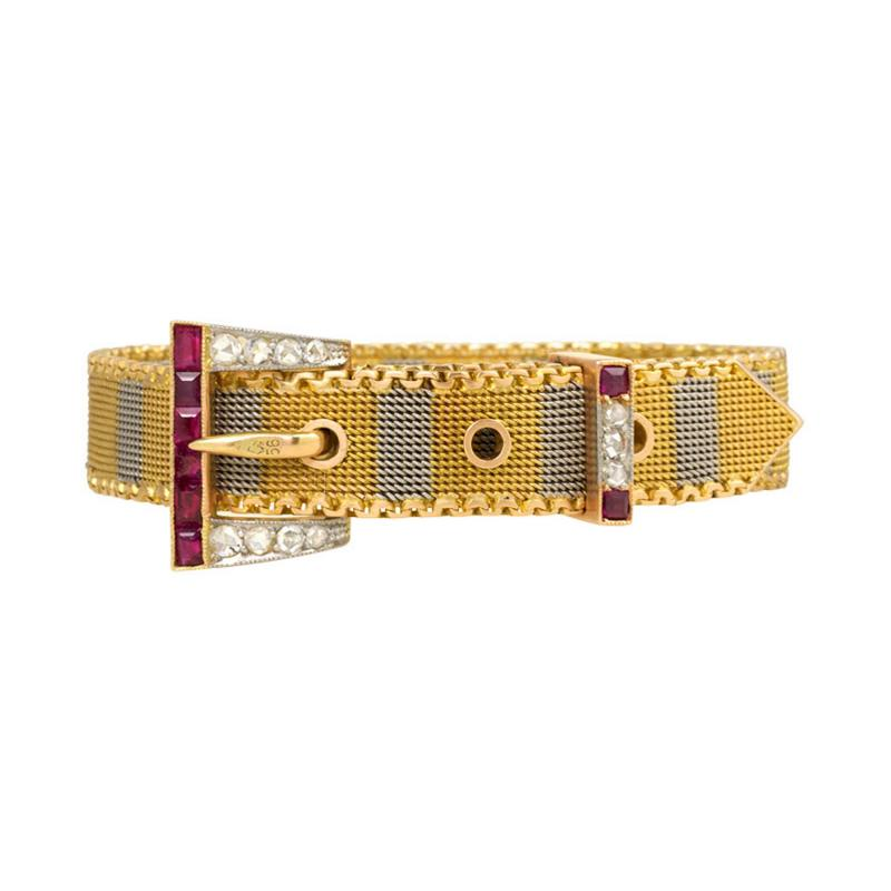 Early 20th Century Two Color Gold Buckle Bracelet with Rubies and Diamonds