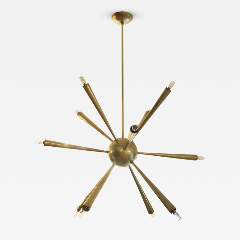 Early Brass Sputnik Chandelier Italy 1950s