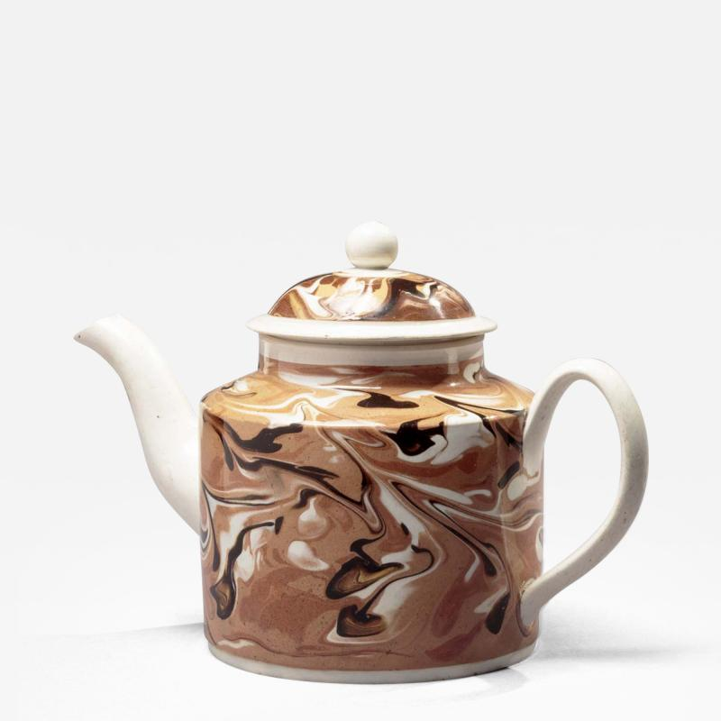Early Mochaware Teapot with Lid