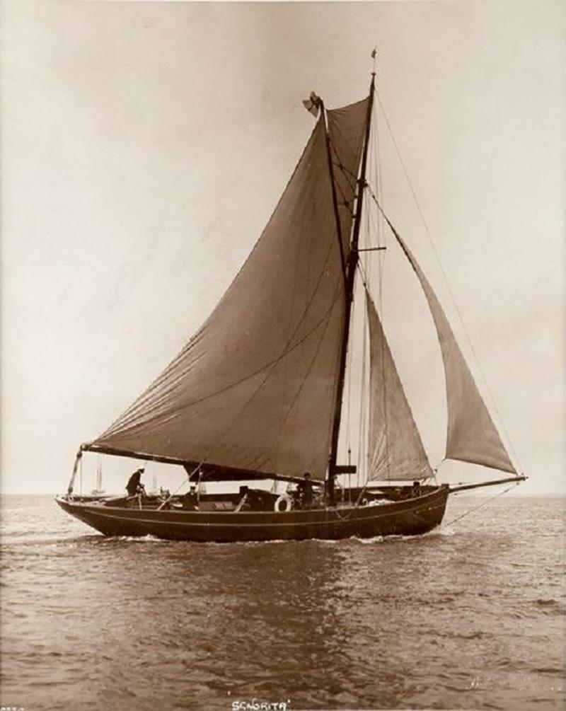 Early silver gelatin photo print by Beken of Cowes Yacht Senorita