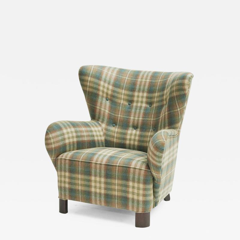 Easy chair Danish reupholstered with Mulberry fabric