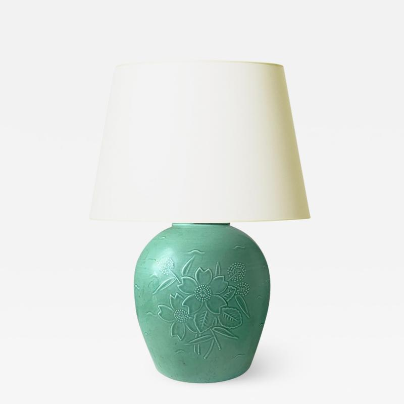 Ebbe Sadolin Table Lamp with Floral Reliefs by Ebbe Sadolin