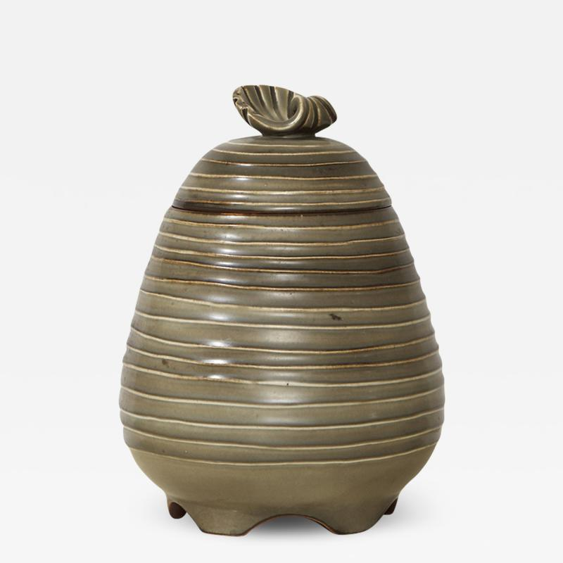 Ebbe Sadolin Unique Covered Jar with ridged texture and shell finial by Ebbe Sandolin