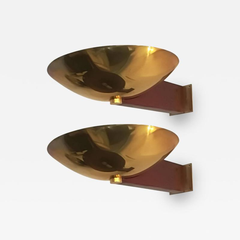 Eckart Muthesius Eckart Muthesius Pair of Wall Lights in Brass and Mahogany Tecnolumen