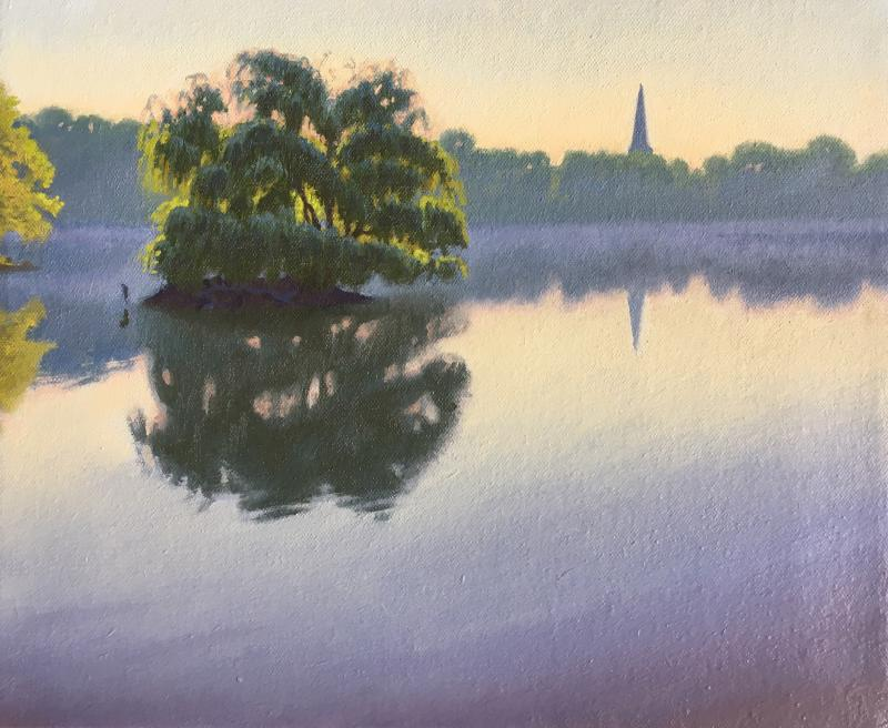 Ed Stitt Willow on Jamaica Pond Hazy Morning