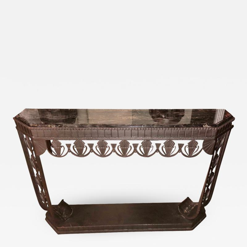 Edgar Brandt Art Deco Grand Iron and Marble Console style of Edgar Brandt
