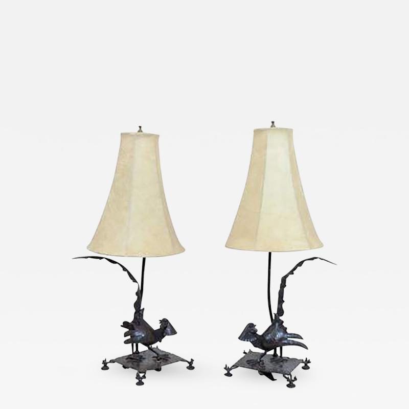 Edgar Brandt Exceptional Edgar Brandt Pair of Art Deco Pheasant Form Table Lamps