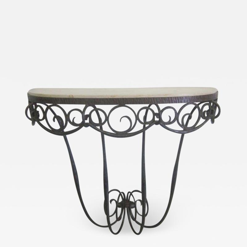 Edgar Brandt French Art Deco Hand Hammered iron and Marble Wall Console by Edgar Brandt