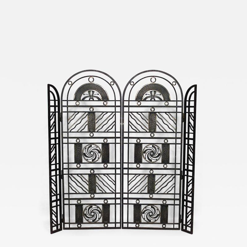 Edgar Brandt French Art Deco Wrought Iron Filigree Circle Design 4 Panel Gate