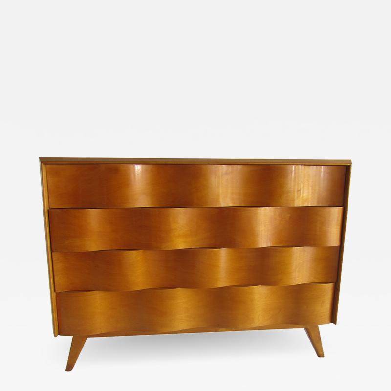 Edmond Spence American Modern Birch and Maple Wavefront Dresser