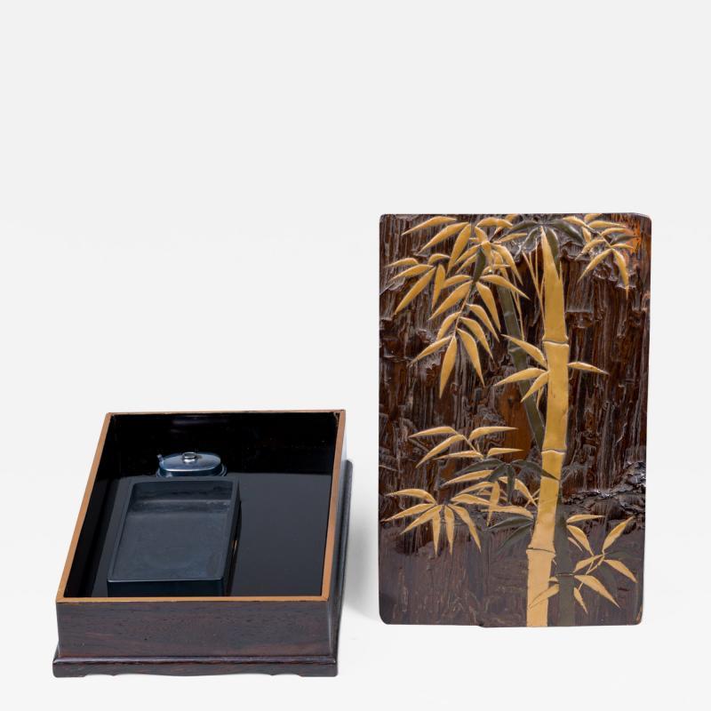Edo Period Zitan Wood Suzuribako Writing Box