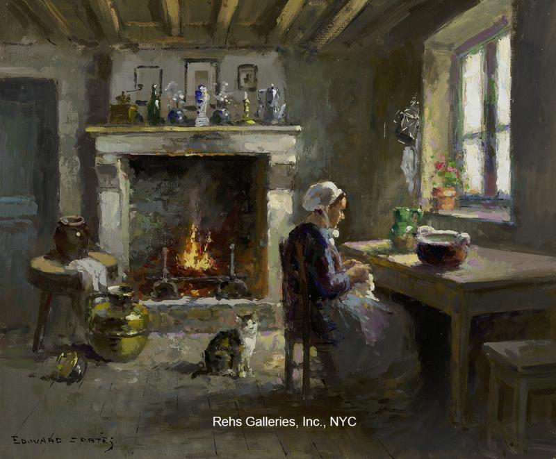 Maison bretonne Edouard-Leon-Cortes-Paysanne-et-son-chat-dans-un-int-rieur-242898-600124