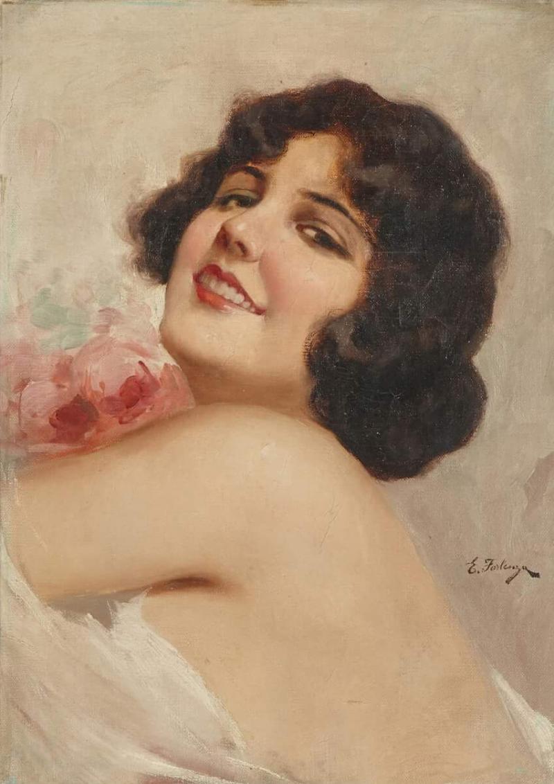 Eduardo Forlenza Oil painting of an Italian woman holding flowers by Eduardo Forlenza