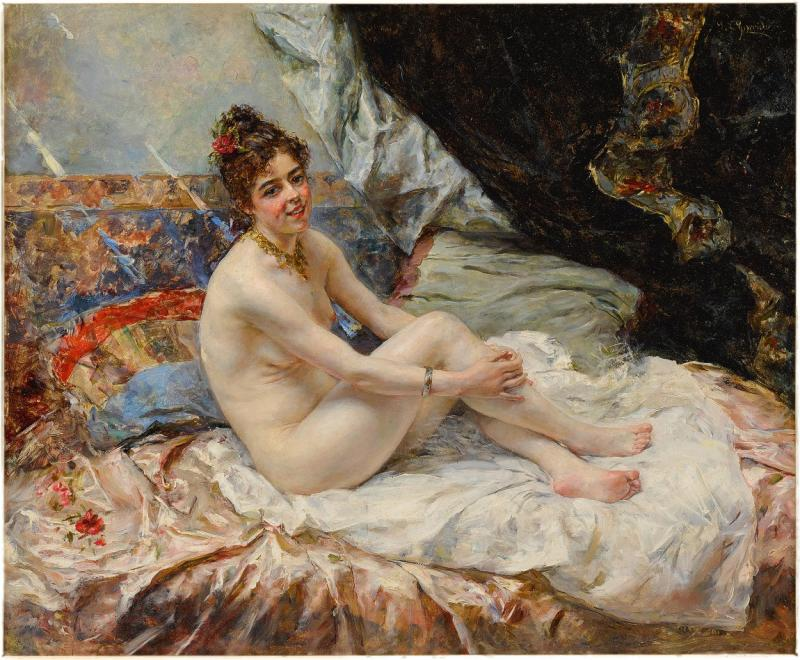 Eduardo Le n Garrido A Fine Spanish Boudoir Painting