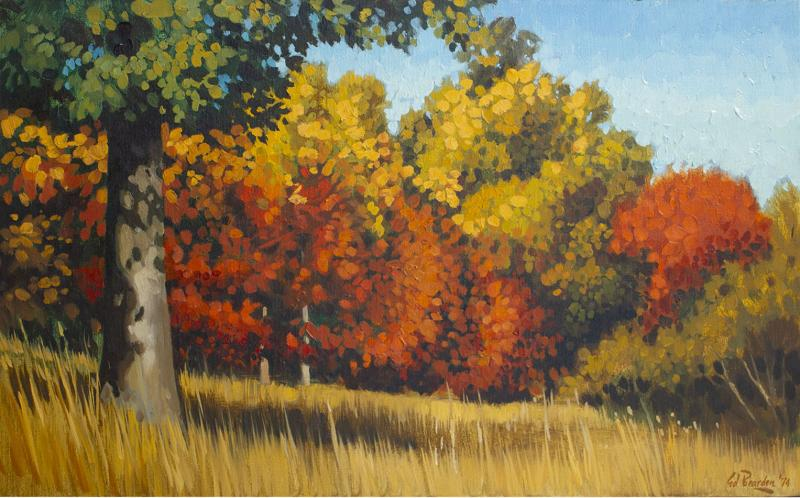 Edward Carpenter Bearden Ed Bearden Oil on Canvas Edge of the Woods in Fall 1974 Texas Artist