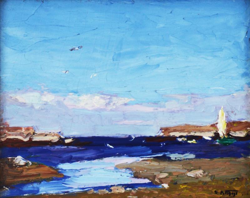 Edward Henry Potthast By the Shore inlet scene