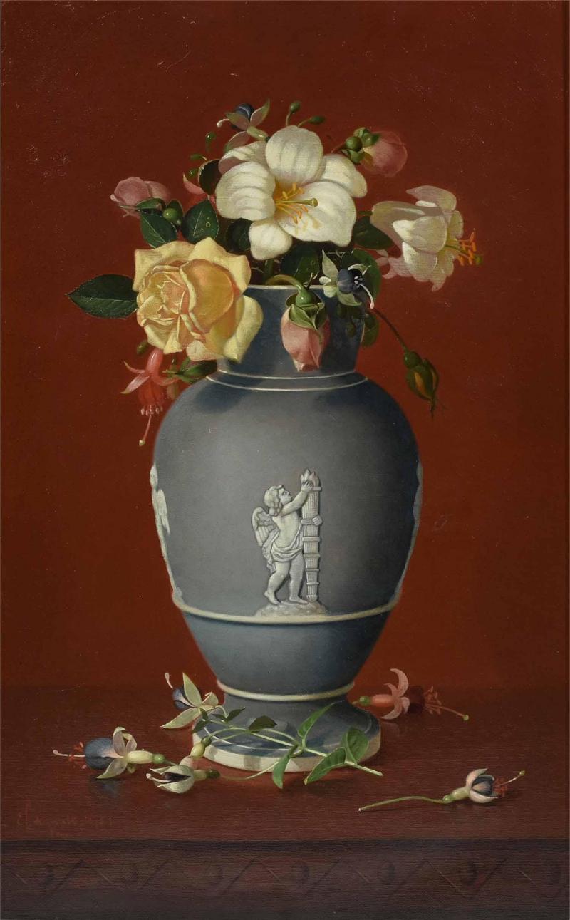 Edward Leavitt Flowers in Clasical Urn