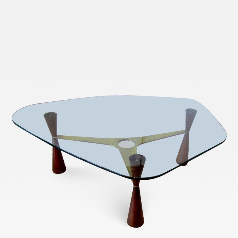 Edward Wormley An American Modern Brass Wood Glass Coffee Table Edward Wormley for Dunbar