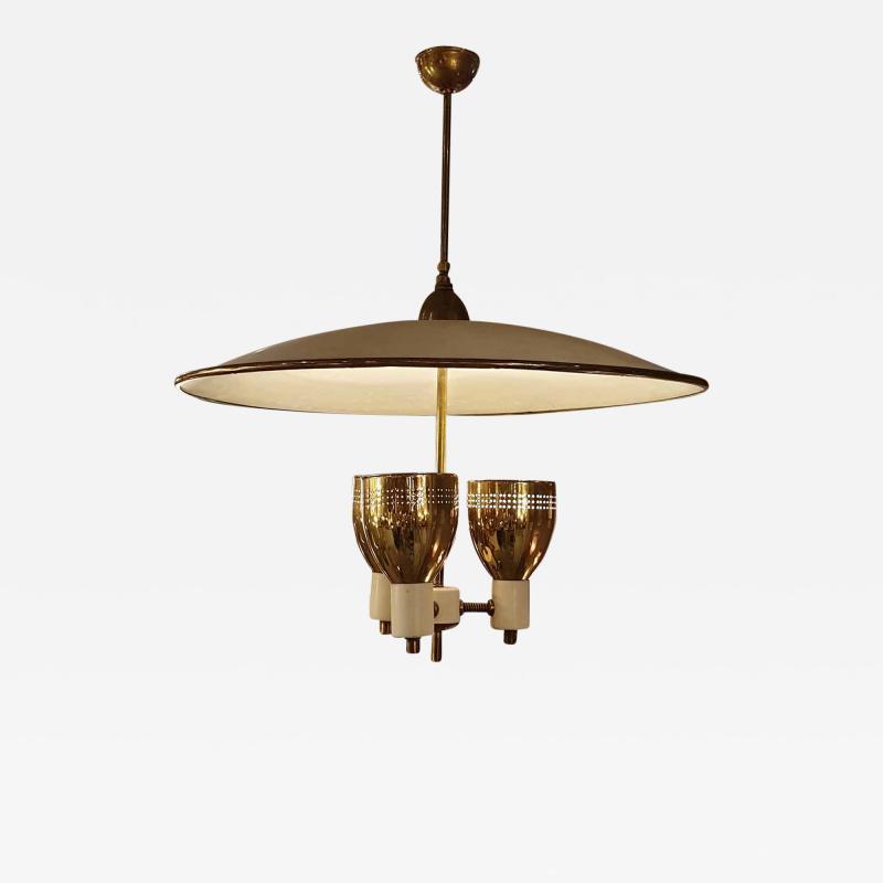 Edward Wormley Brass enamel Mid Century Modern chandelier E Wormley for Lightolier USA 1950s
