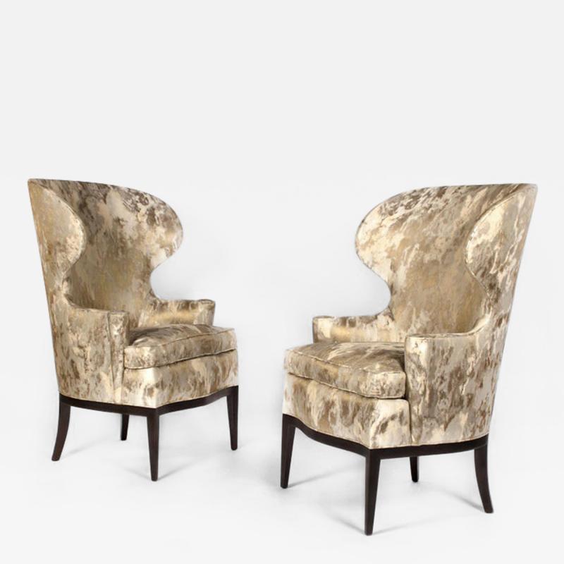 Edward Wormley Dunbar Wingback Chairs designed by Edward Wormley in a Custom Cartier Textile
