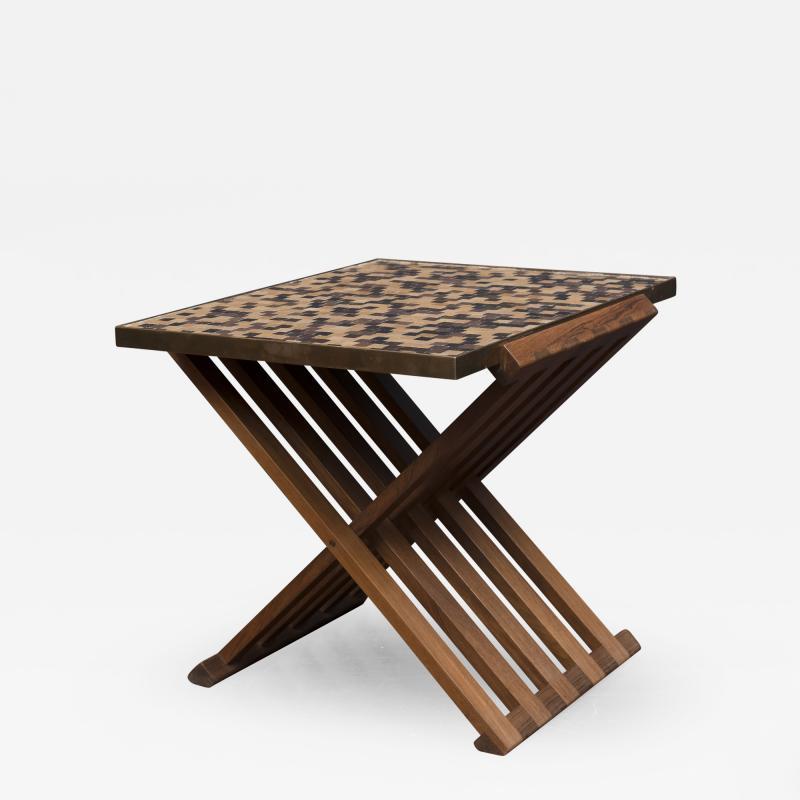 Edward Wormley Dunbar X Base Murano Tile Top Table