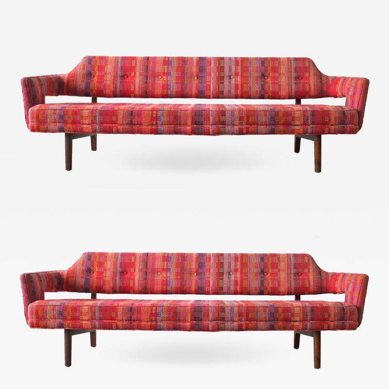 Edward Wormley Edward Wormley Open Back Sofas for Dunbar Original Dorothy Liebes Woven Textile
