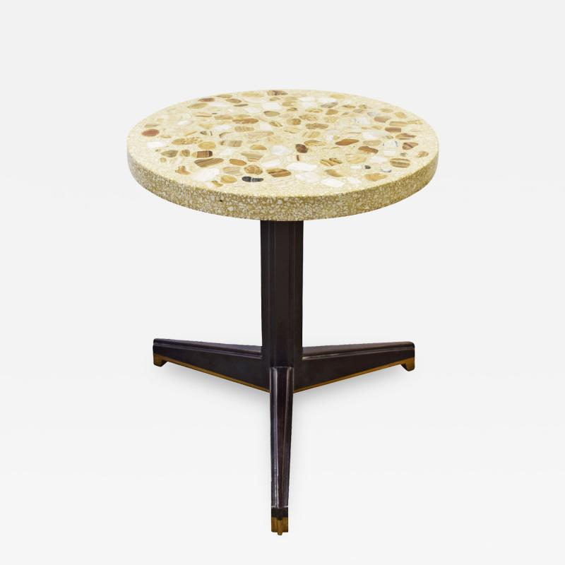 Edward Wormley Edward Wormley Rare Occasional Table with Marble Set in Terrazzo 1959 Signed