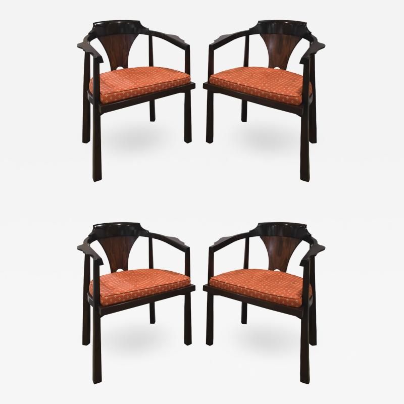 Edward Wormley Edward Wormley Set of 4 Dining Game Chairs in Walnut and Rosewood 1963 Signed