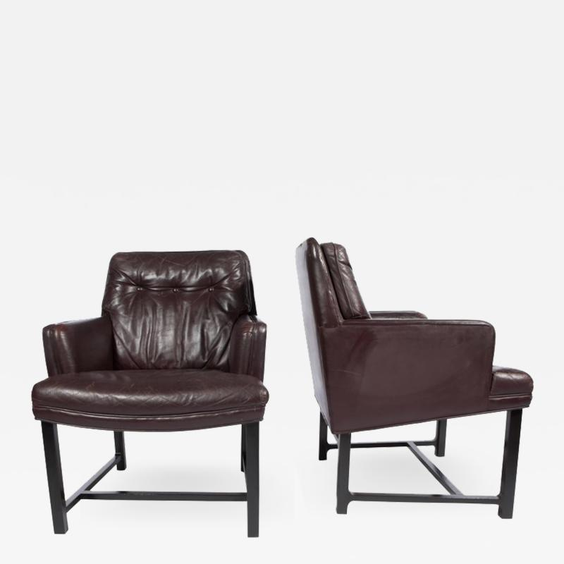 Edward Wormley Edward Wormley for Dunbar Armchairs with Original Leather Circa 1960s