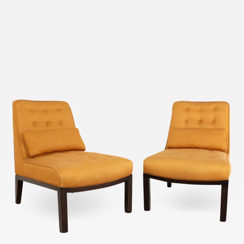 Edward Wormley Edward Wormley for Dunbar Mid Century Slipper Lounge Chairs Pair