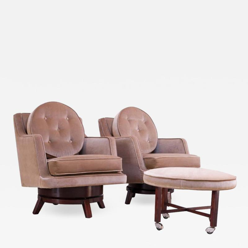Edward Wormley Edward Wormley for Dunbar Revolving Lounge Chairs in Mahogany with Ottoman