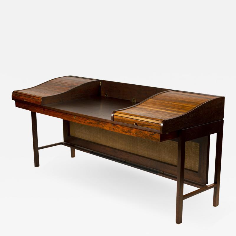 Edward Wormley Edward Wormley for Dunbar Solid Brazilian Rosewood Tambour Desk Model 912C