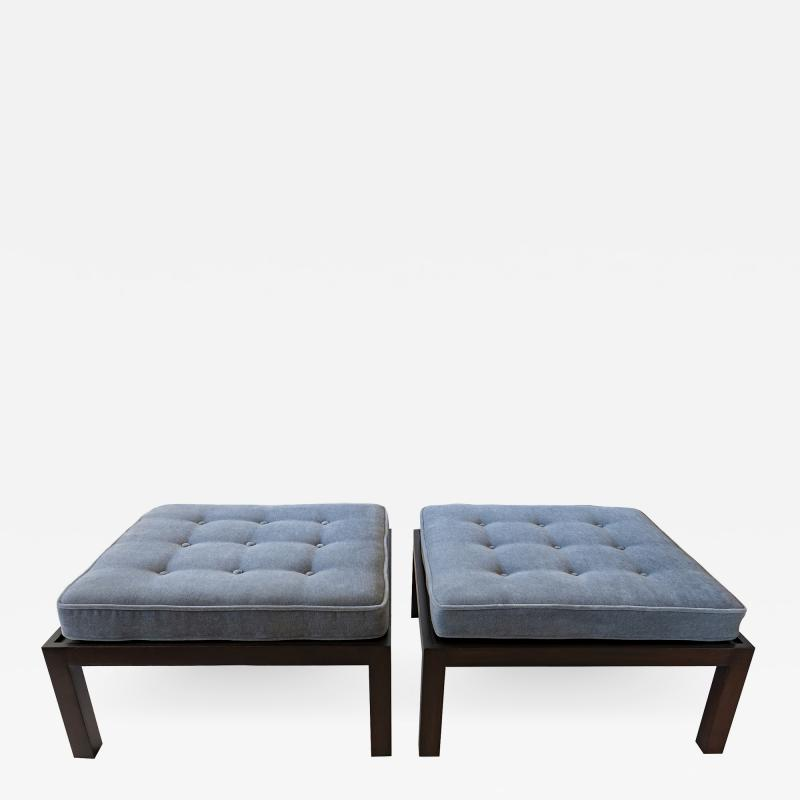 Edward Wormley Pair of American Modern Oversized Dark Walnut Benches Ottomans