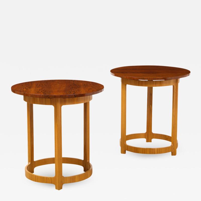Edward Wormley Pair of Circular Side Tables by Edward Wormley for Dunbar
