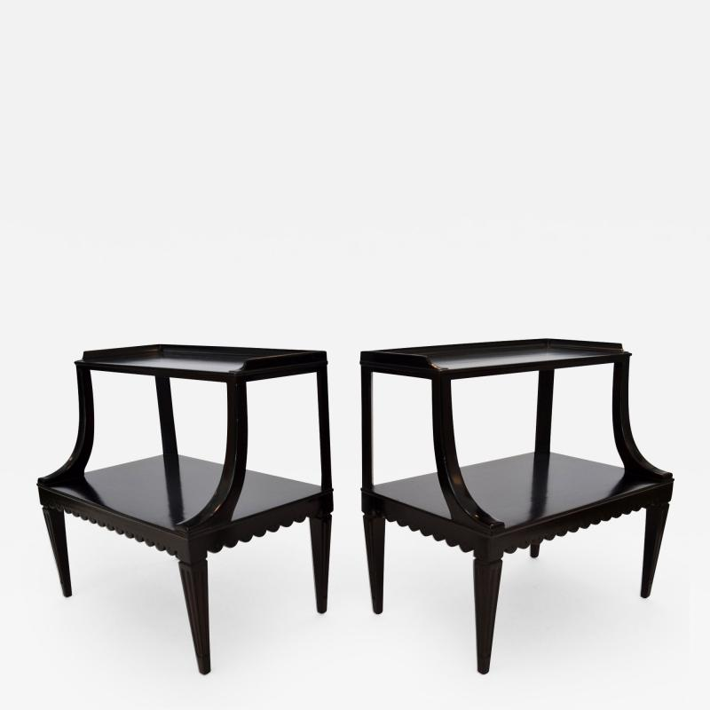Edward Wormley Pair of Ebony Side End Occasional Tables by Dunbar Wormley Midcentury 2275