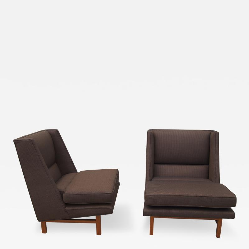 Edward Wormley Pair of Low Lounge Chairs by Edward Wormley for Dunbar