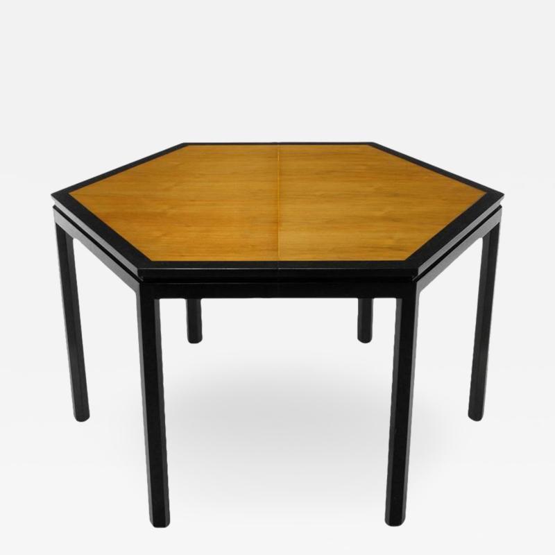 Edward Wormley Rare Edward Wormley Hexagonal Mahogany and Tawi Dining Table