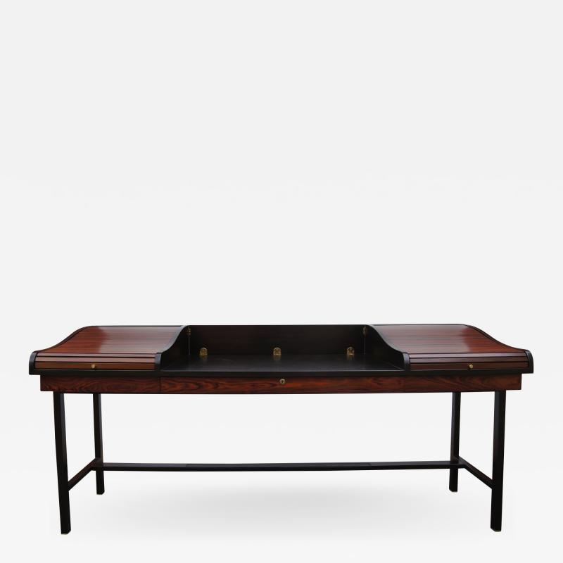 Edward Wormley Rosewood and Mahogany Roll Top Desk by Edward Wormley for Dunbar