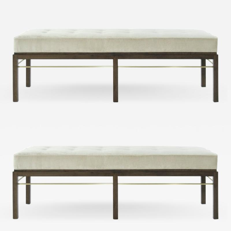 Edward Wormley Set of Edward Wormley for Dunbar Brass Stretcher Benches 1950s