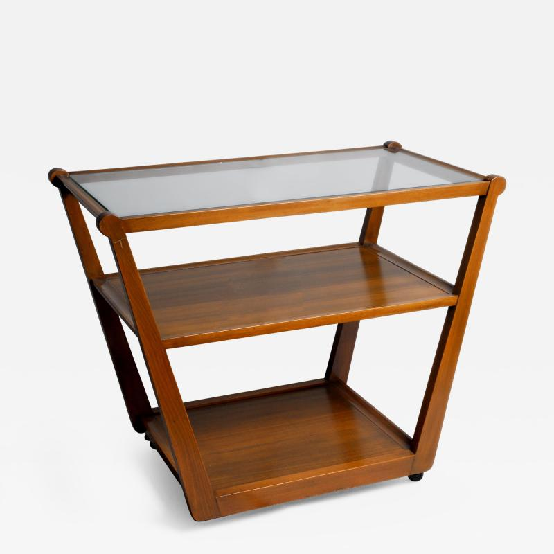 Edward Wormley Tiered Serving Cart for Drexel in Elm Art with Glass Top and Casters