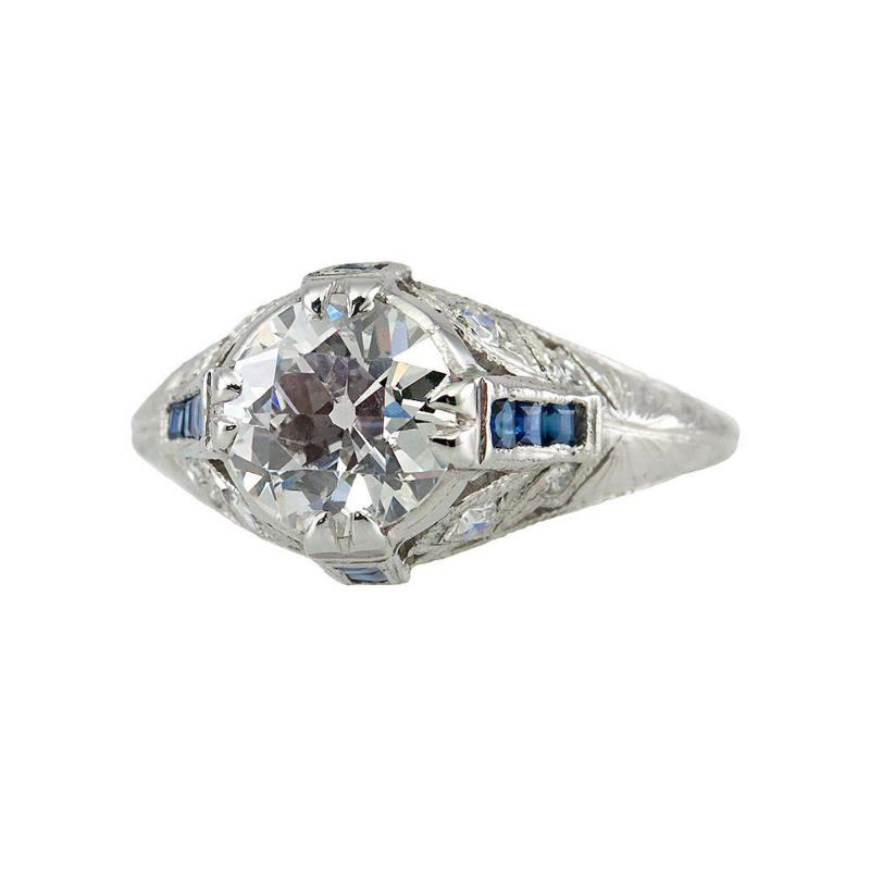 Edwardian 1 60 Ct Engagement Ring with Sapphire Accents
