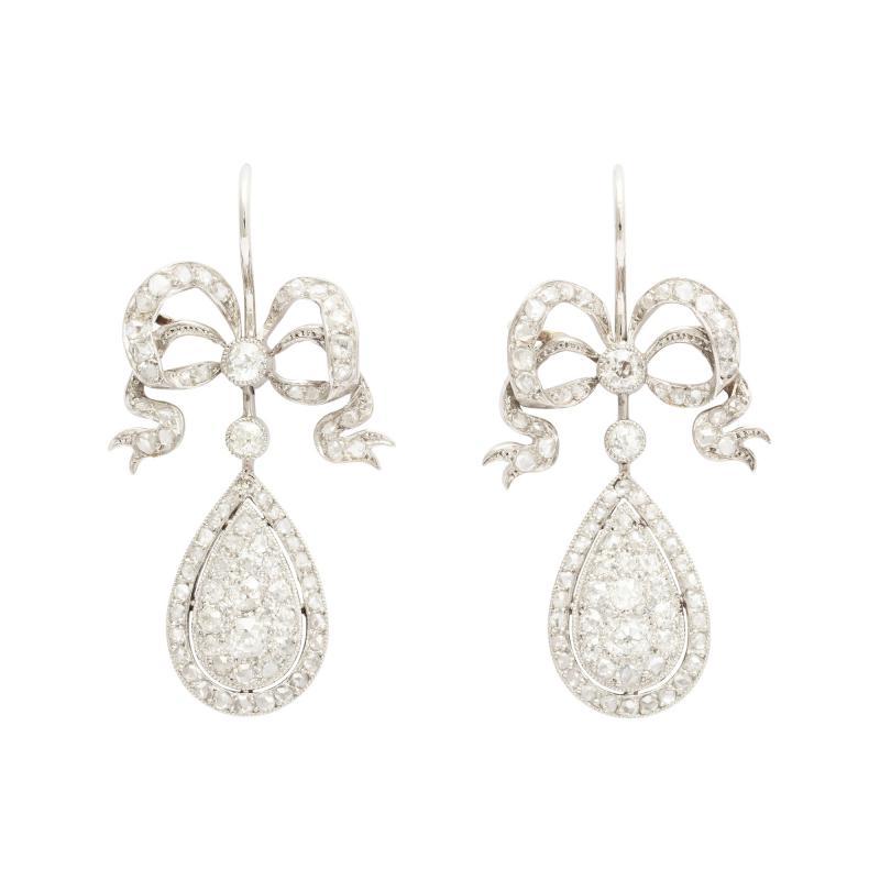 Edwardian Diamond Earrings in Platinum