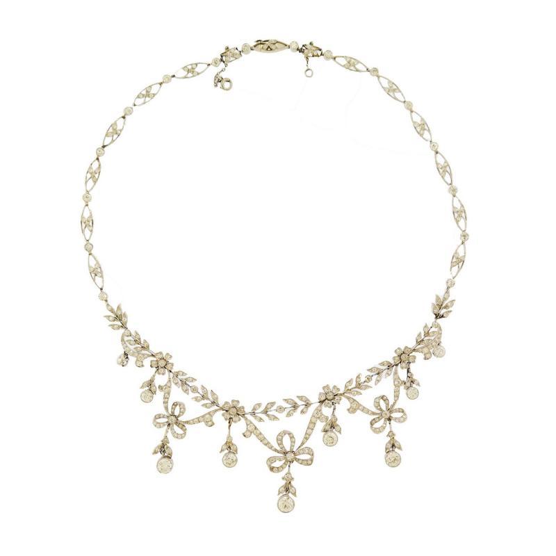 Edwardian Ribbon and Bow Diamond Necklace