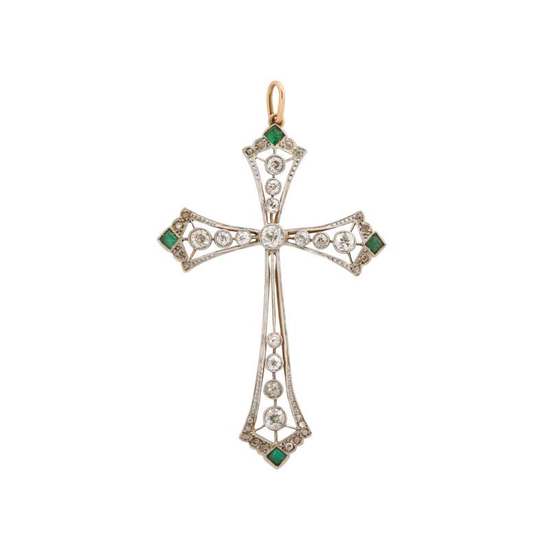 Edwardian diamond and emerald cross