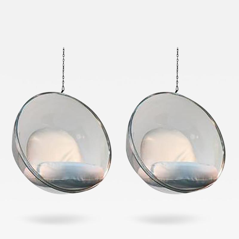 Eero Aarnio Incredibly Pair of Reissued Eero Aarnio Bubble Hanging Chairs