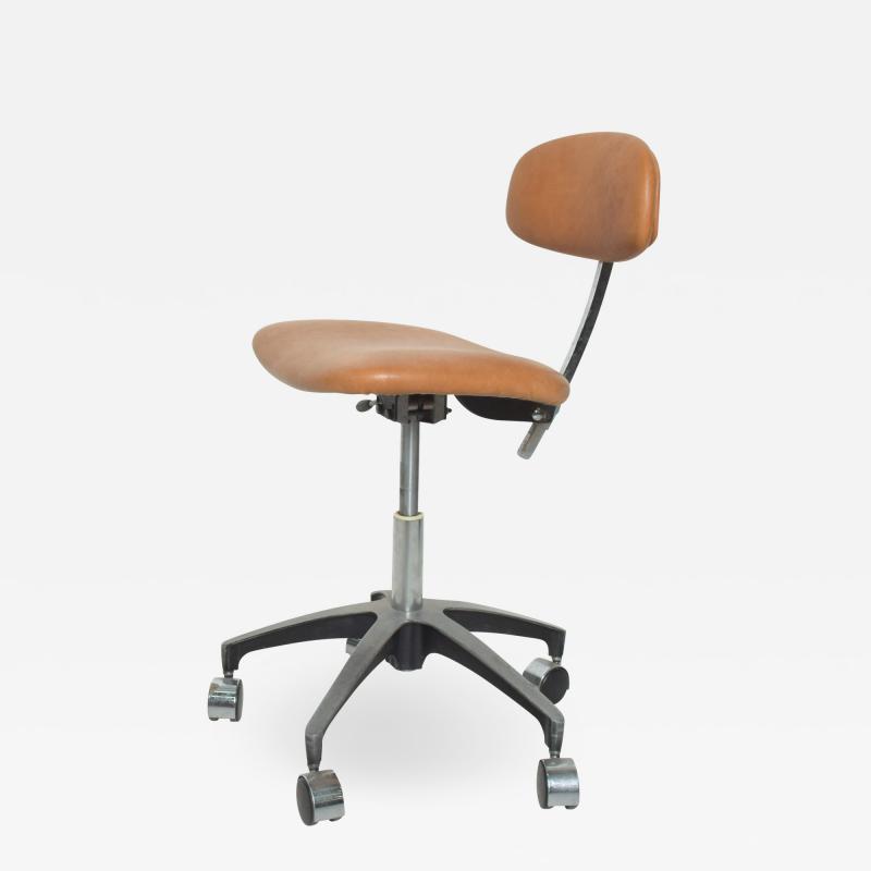 Eero Saarinen Cognac Leather Adjustable Office Task Desk Chair 1960s Saarinen Knoll Eames