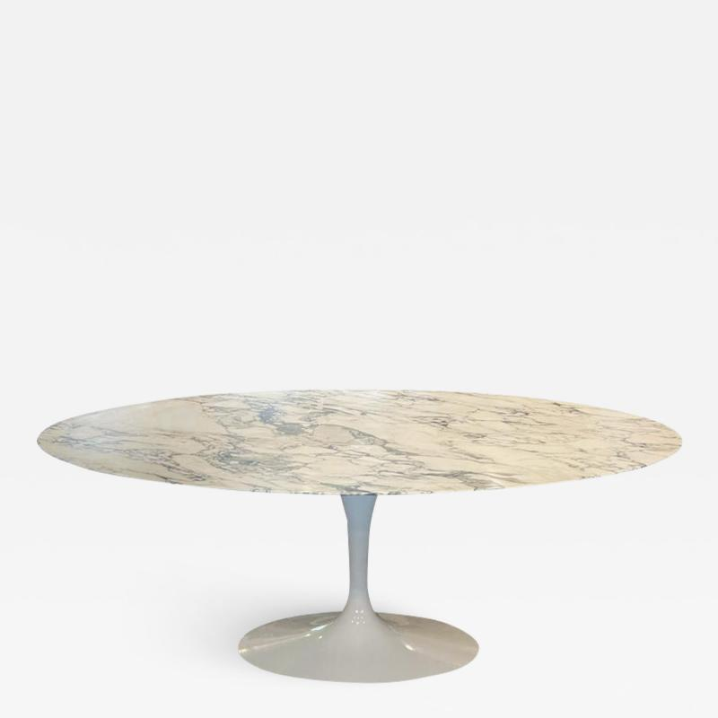 Eero Saarinen Mid Century Modern Oval Dining Table by Eero Saarinen for Knoll in White Marble