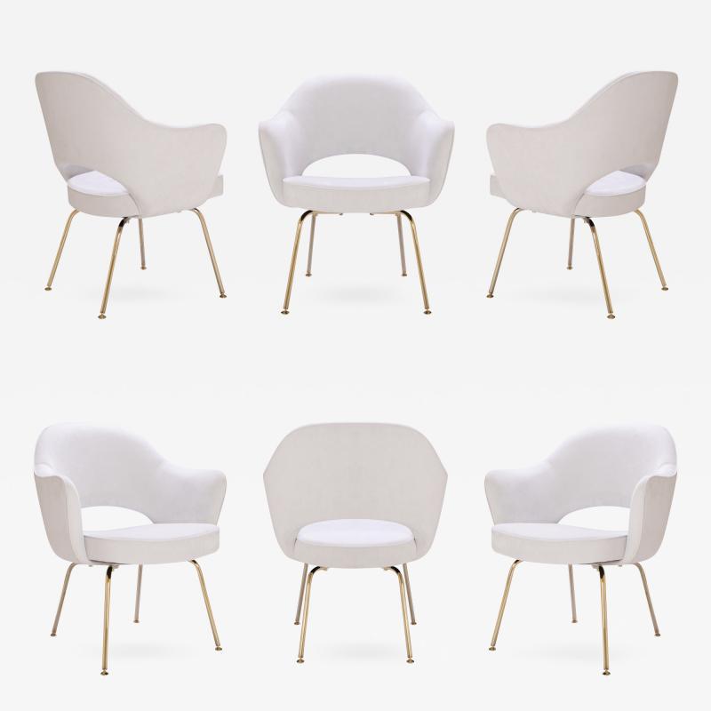 Eero Saarinen Saarinen Executive Arm Chairs in Dove Ultrasuede 24k Gold Edition Set of 6